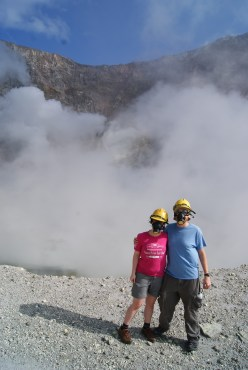 It's a 40ft drop off behind us into the boiling main crater below.