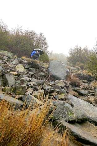 Climbing up a rock chute