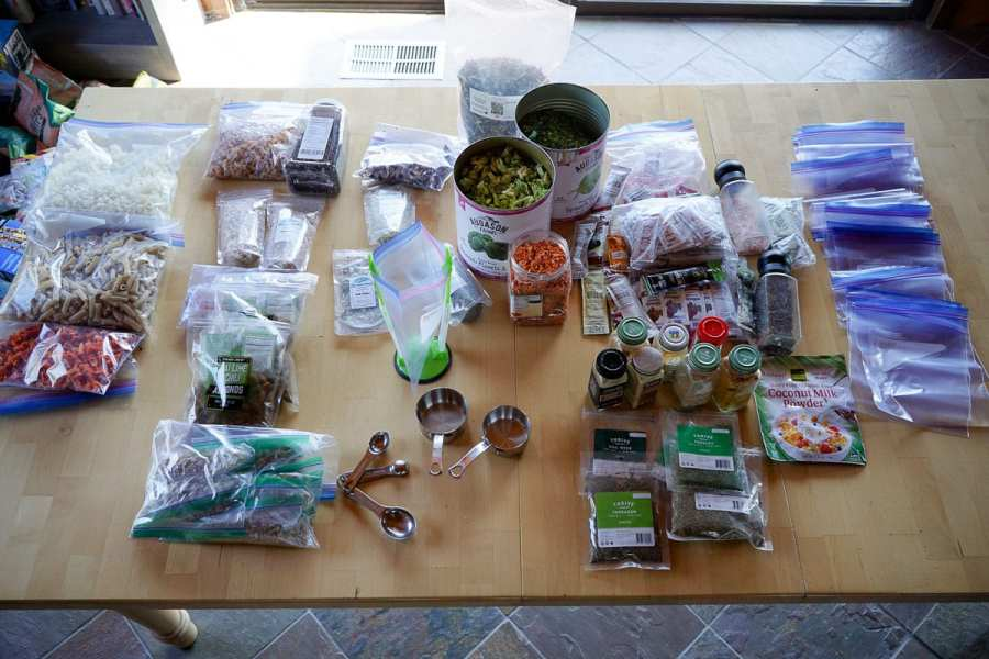 Time to assemble meals - Backpacking dinners