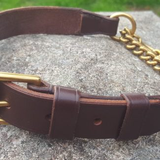 Flat Leather Half Choke Dog Collar