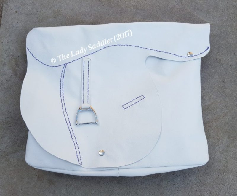 Soft Leather Saddle Bag in White and Purple