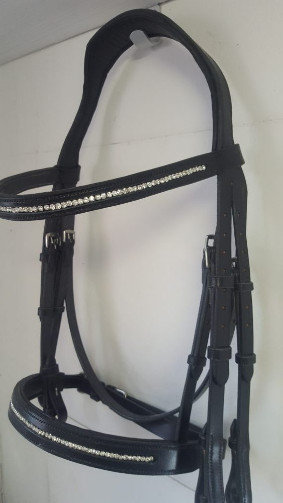 Black Double Bridle with Crystal Noseband and Browband handmade from Sedgwick Bridle Leather