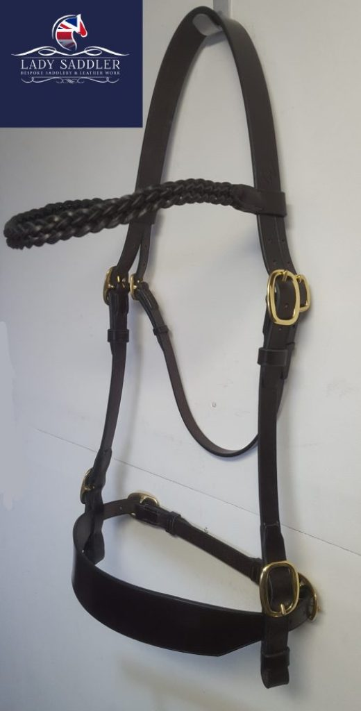 Hand Cut and Hand Stitched Inhand Bridle with Plaited Browband