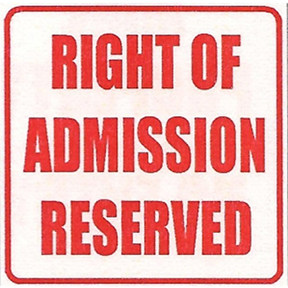 Right of admission reserved
