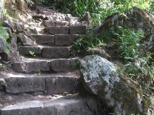 Stone steps to Machu Picchu