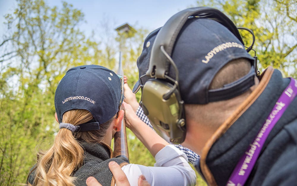 Instruction for clay pigeon shooting at Lady's Wood Shooting School