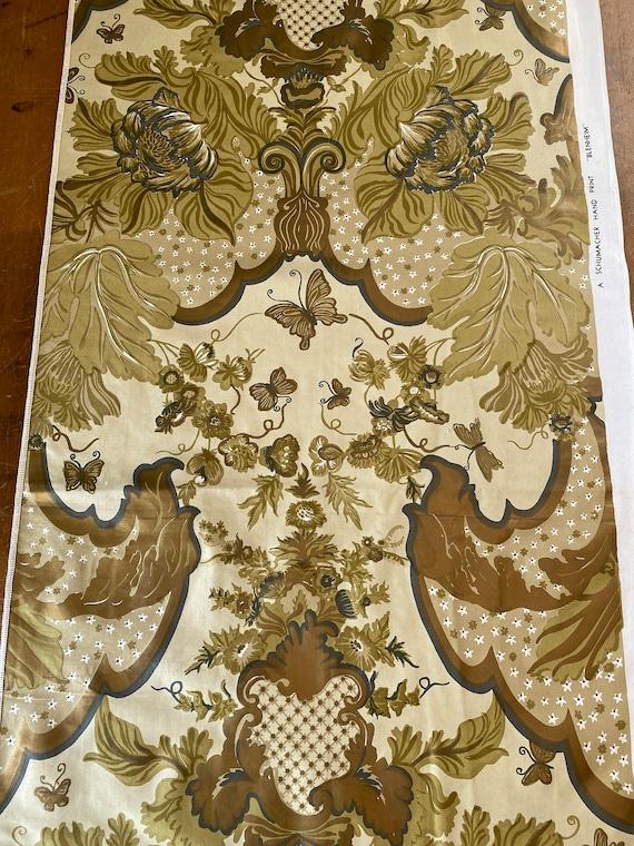 """Vintage 1950s Schumacher """"Blenheim"""" Handprinted Fabric"""