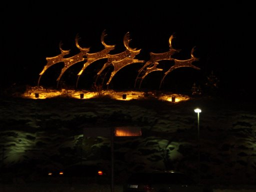 Lightened statues of reindeers outside the Rovaniemi airport terminal