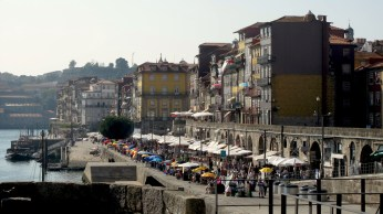 Lively Ribeira part at the Douro river