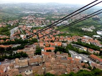 Cable car from City of San Marino down to Borgo Maggiore