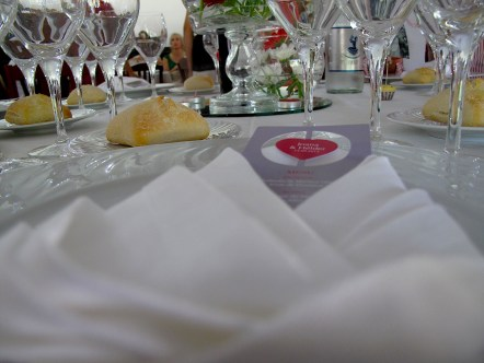 Set table, which soon will be covered with various Portuguese dishes