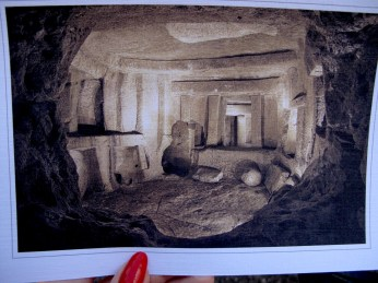 You cannot make photos inside the Hypogeum. So at least you can capture views from the postcards...