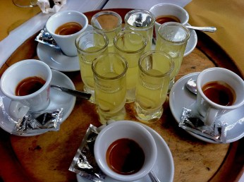 Cafe and Limoncello liqueur in Florence, Italy