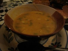 Traditional Moroccan soup, most likely made with semolina