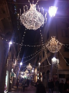 Christmas lights in the evening, Florence