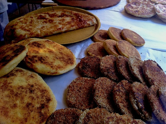 Different types of traditional Moroccan pancakes, sold in the streets of Medina and Ville Nouvelle.
