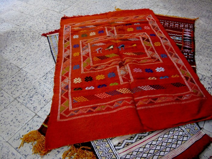 Carpets in Morocco. I bought the same like this orange just in blue colour