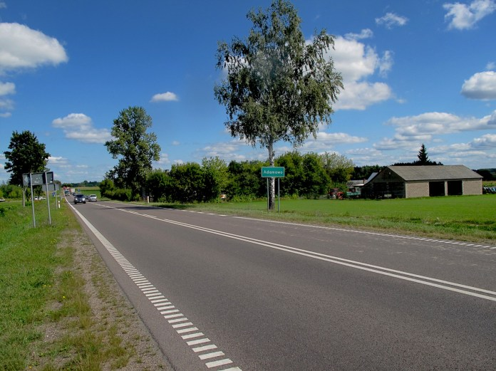 Roadtrip from Lithuania to Denmark by car. In the picture - road in Poland