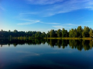 Sky over the lake close to Utena, Lithuania