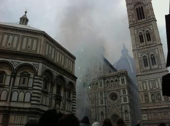 Scoppio del carro fireworks in Piazza del Duomo, Easter 2013