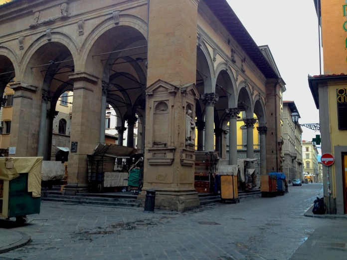 7:36. Mercato Nuovo market, famous for its leather goods, was trying to wake up.