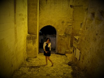 Me in tiny streets of Matera at night
