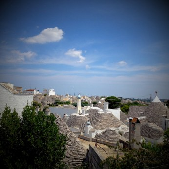 Panoramic view of the whole trulli district in Alberobello