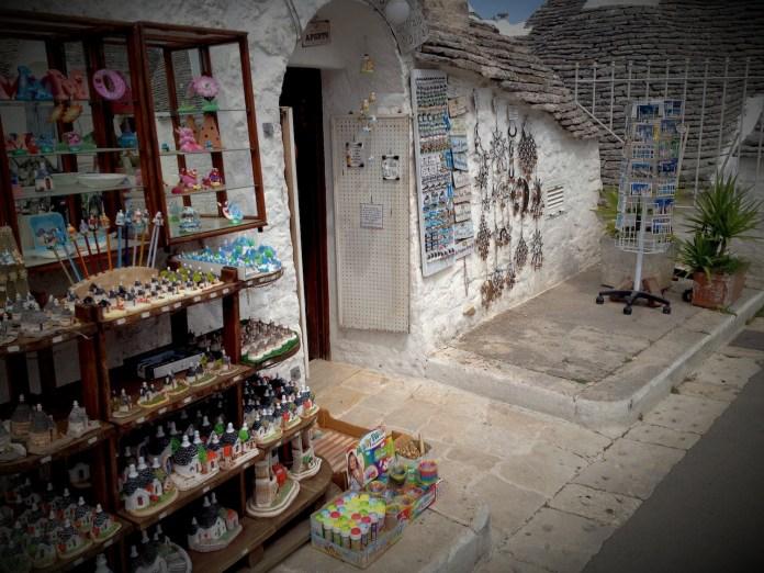 One of many souvenir shops in Alberobello, selling tiny trullis