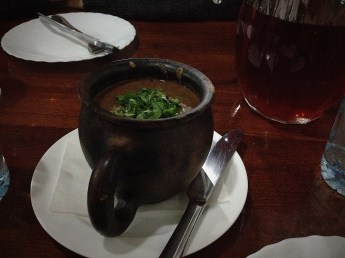 Traditional Georgian bean soup with walnuts