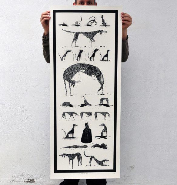 Serigrafía con ilustraciones del libro Un perro en casa. Ramón París.