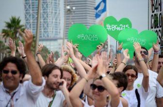 Corazones verdes por el Medio Ambiente. Marcha en Barcelona