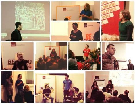 Collage con todas las imágenes del primer encuentro abierto de 350 BCN por el clima