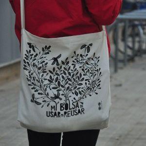 Bolsa de tela de algodón orgánico para compras Usar y reusar
