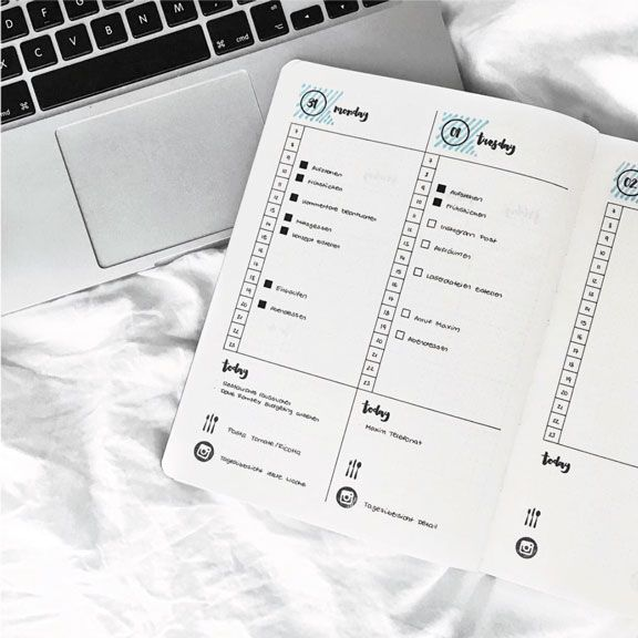 Bullet Journal. Organización diaria o Daily Planning. Imagen de https://www.instagram.com/journalspiration/