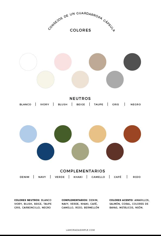 Elige una paleta de colores para tu armario cápsula