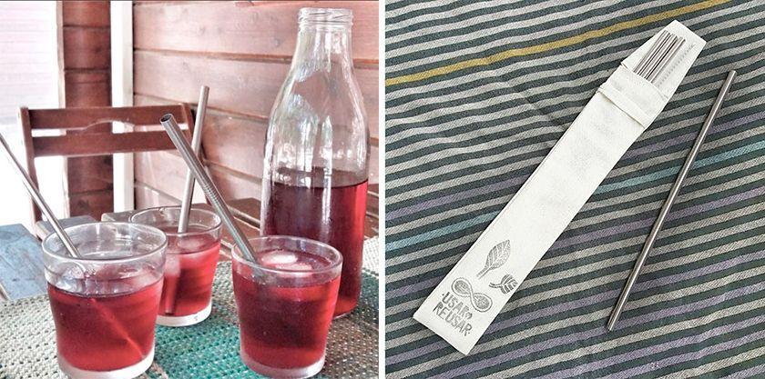 Beber con pajitas reutilizable de acero