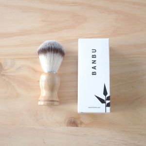 Brocha para el afeitado vegana de madera i pelo sintético