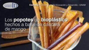 Popotes, a base de cáscaras de mango, hechos por alumnas de la UNAM