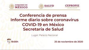 #EnVivo: Reporte diario sobre COVID-19 en México. 25 de noviembre