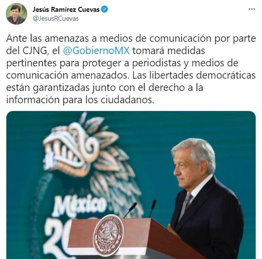 Ofrece el gobierno protección a periodistas amenazados por el Cartel Jalisco Nueva Generación