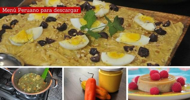 Menú cocina peruana saludable - descargable