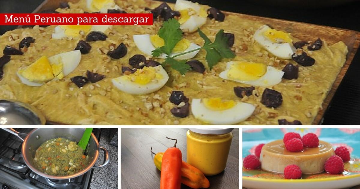 Menú Cocina Peruana Saludable   Descargable