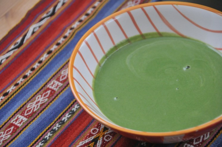 sopa de espinaca y alcachofa baja en sal