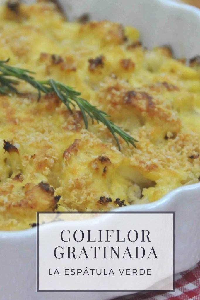 Coliflor gratinada con queso fresco, parmesano y hojuelas de kiwicha