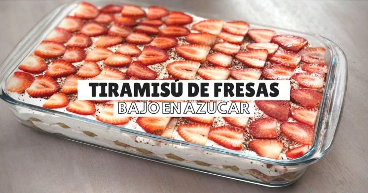 Tiramisú de fresas bajo en azúcar