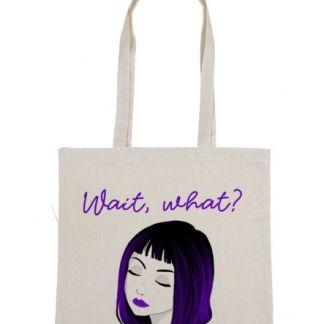 bolsa de tela no mas plasticos ilustrada chica morada feminismo