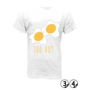 TOO HOT huevos fritos calor asados camiseta huevosun par de huevos fritos camisetas de hombre y mujer