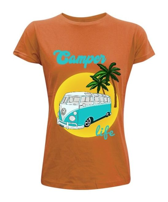 CAMPER LIFE camiseta volkswagen van life diseño personalizado hombre mujer playa montaña aventura camping