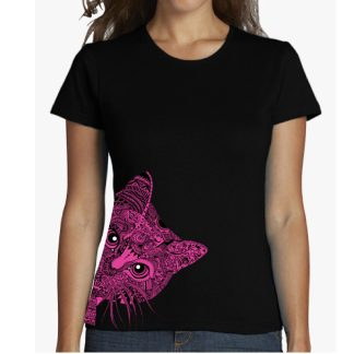camiseta gato mandala para chica y chico en dos estilos entallada o corte recto. mandala cats shirt for men or women. las mejores camisetas.