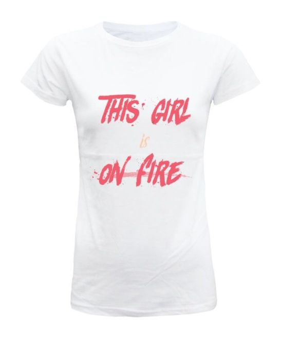 this girl is on fire camiseta mujer manga corta ilustrada camisetas bonitas para mujer empowered woman mujer poderosa empoderada reivindicativa